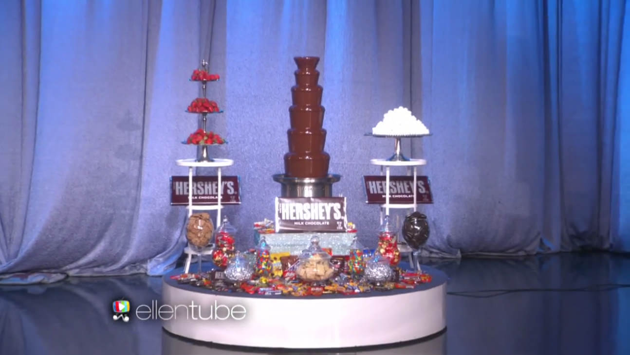 our chocolate fountain rental on the ellen show